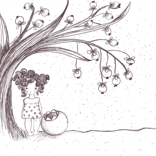 Little girl living in a garden