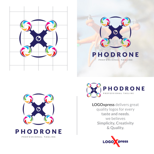 Colorful Photography Drone Logo