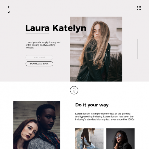 Fashion Landing Page - Photoshop and Adobe XD