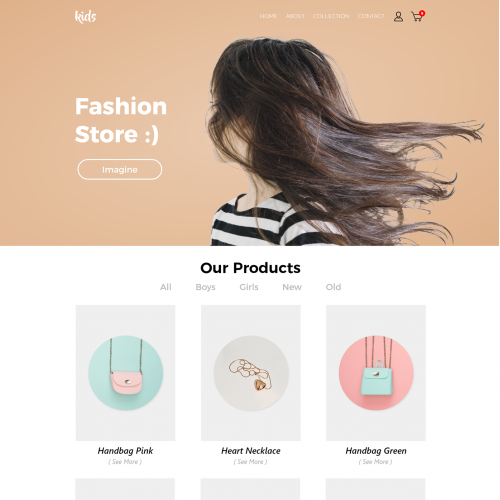 Website KIDS Store Template - Adobe Photoshop And XD