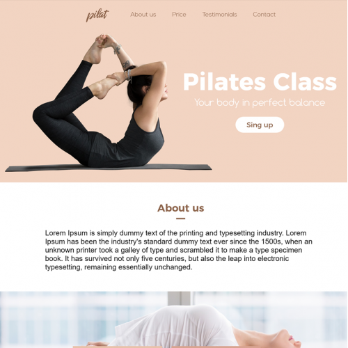 Website Pilates template - Adobe Photoshop and XD