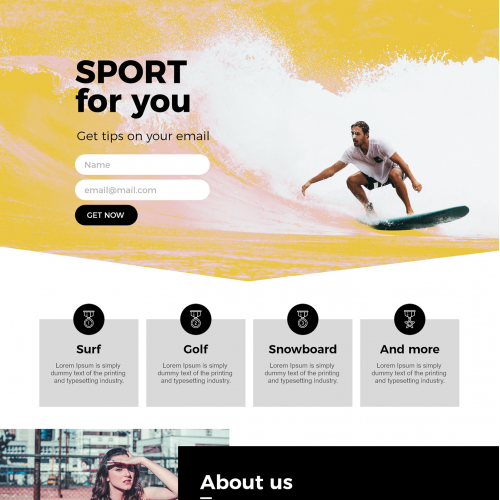 Website Sport Template - Adobe Photoshop And XD
