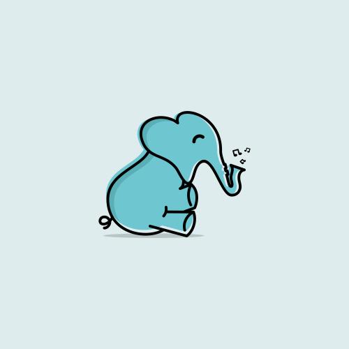 elephant   saxophone logo