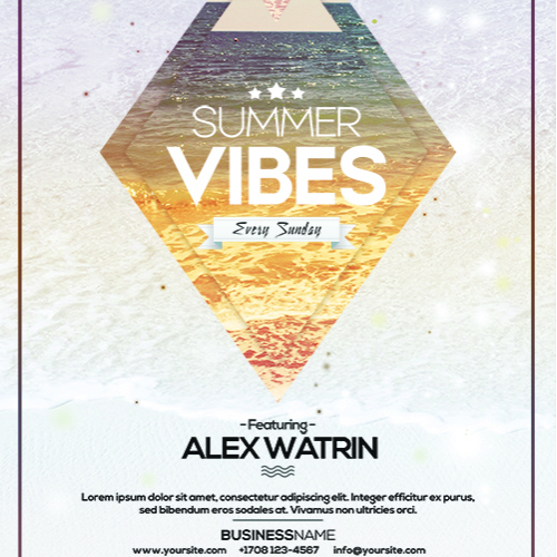 SUMMER VIBES FLYER CLUB PARTY DJ TEMPLATE