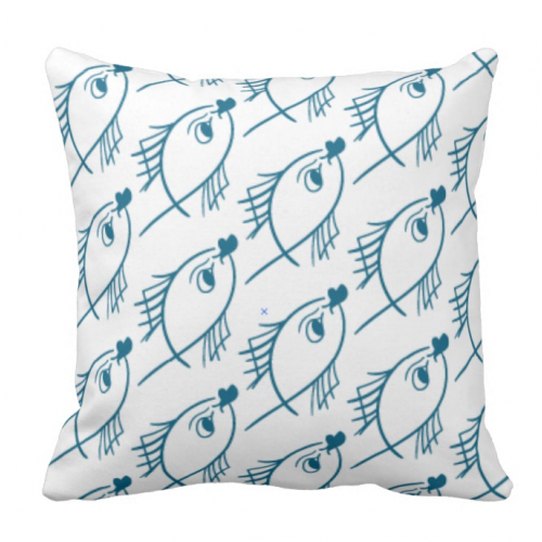 pillow with a fish pattern