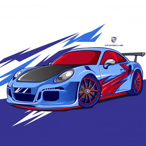 Porsche 911 gt modification vector style
