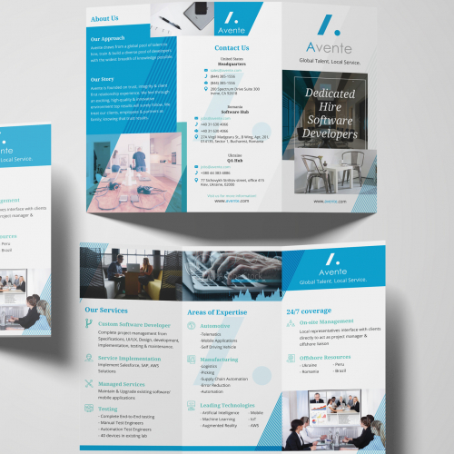 Sleek Modern Minimalist Trifold Brochure Design