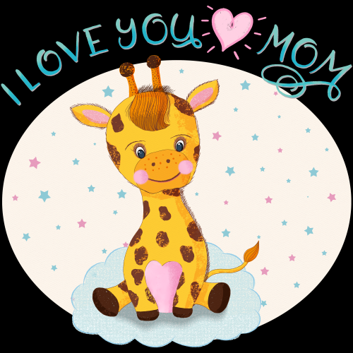 Baby Giraffe loves his/her mom so much