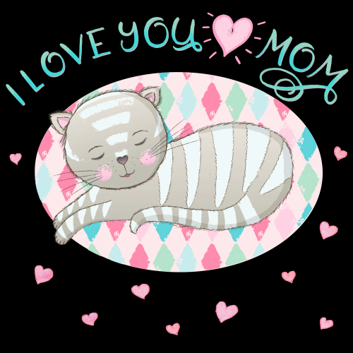 I lovey you mom. Hand lettering with cute cat.