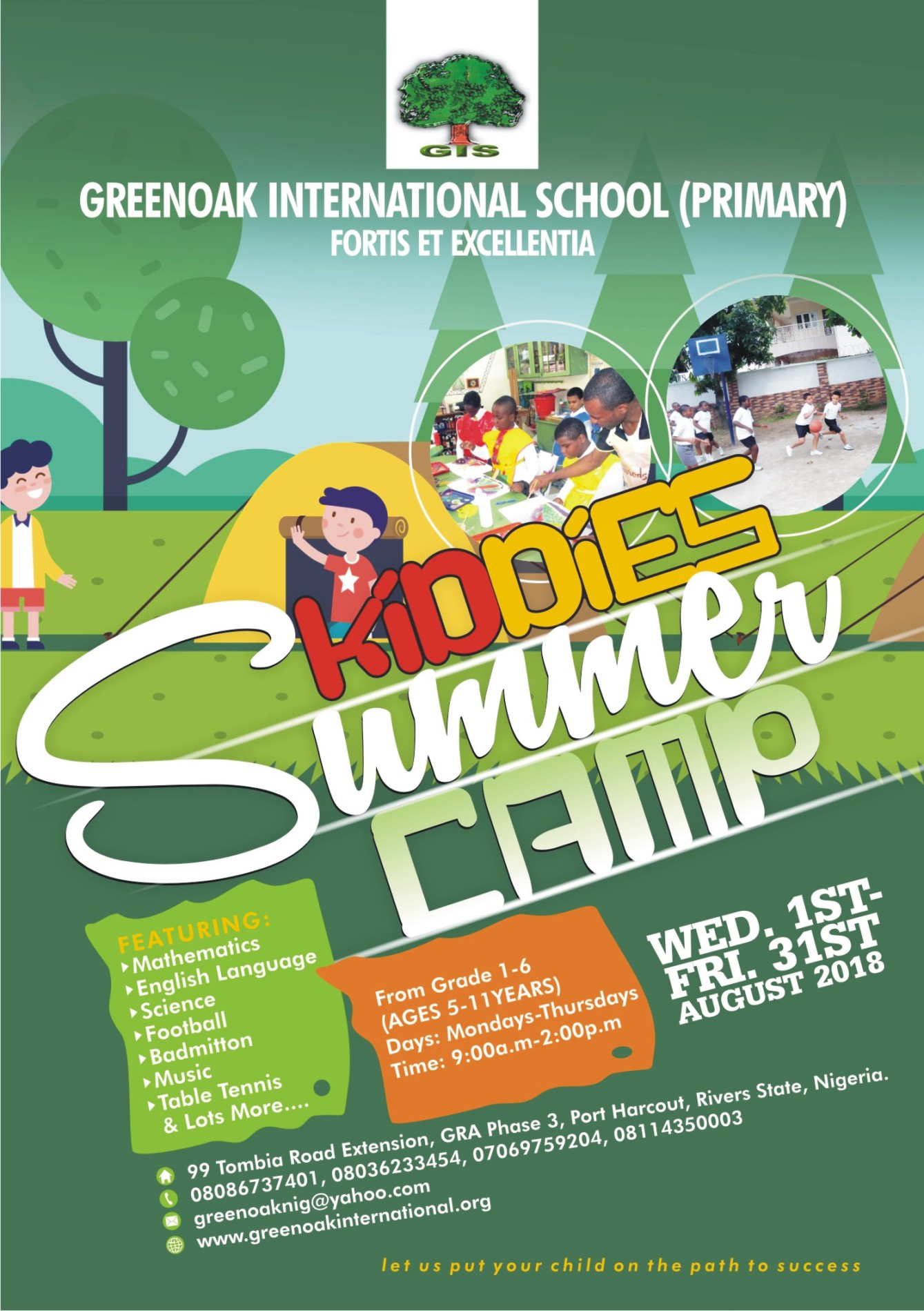 An Advertisement flyer design for school summer games .
