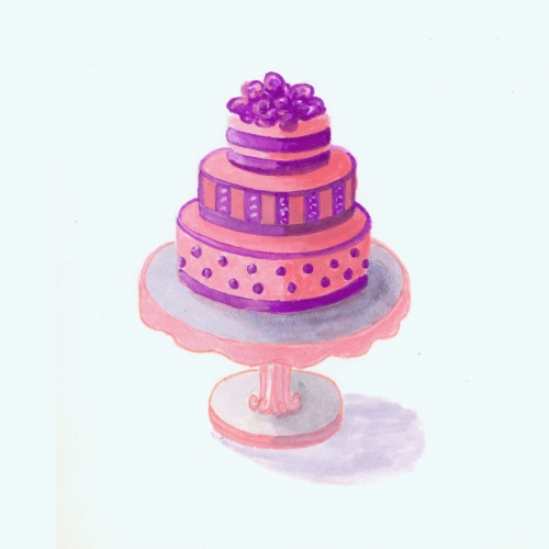 Watercolor Illustration of a Cake