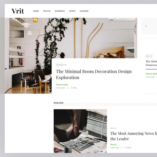Vrit - News Magazine Web Design