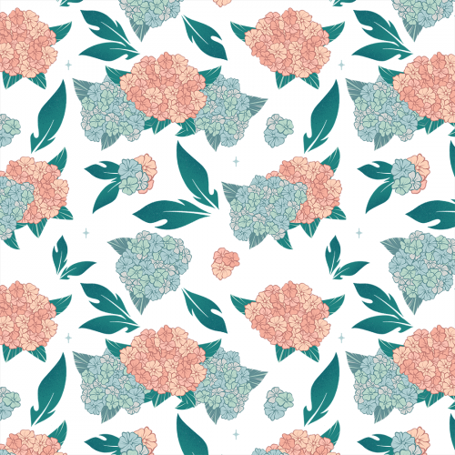 High quality and resolution colorful hydrangea pattern.