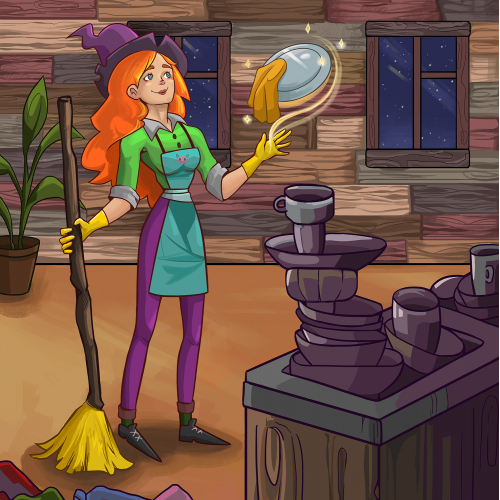 Young witch is preparing for the holiday Halloween. Character design.