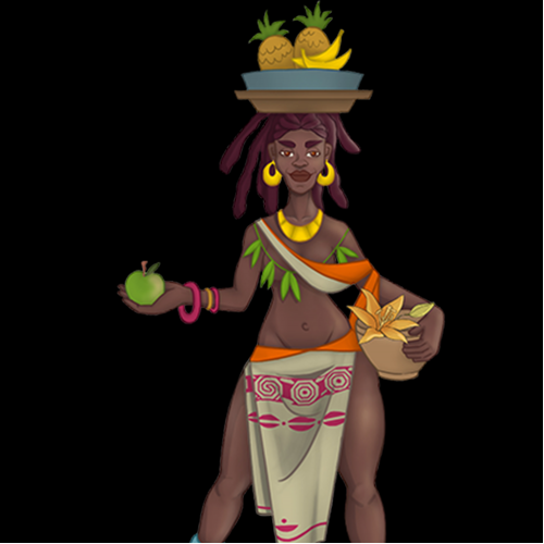 Summer holidays. African girl dancing on flowers with a plate of fruit on her head.