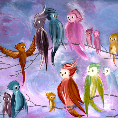 Paradise birds. Acrylic painting. Print