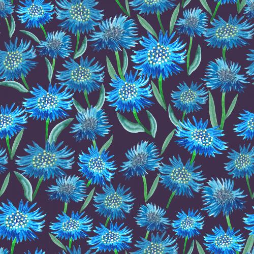 Field of Cornflowers. Beautiful flowers. Seamless pattern. Print