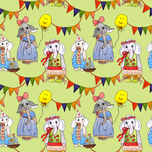 Holiday with elephants. For children. Seamless pattern