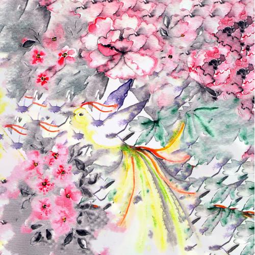 Bird of happiness in the garden. Watercolor