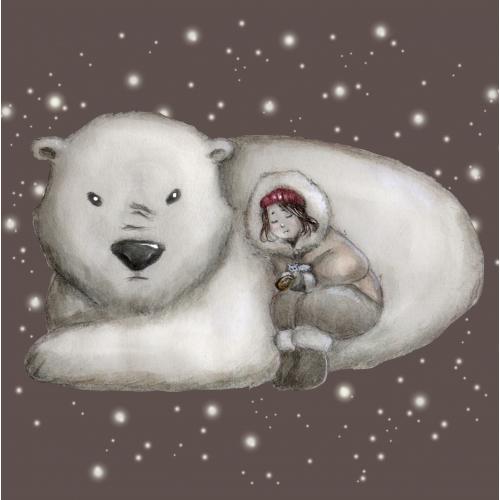 Cute little girl sleeping with polar bear