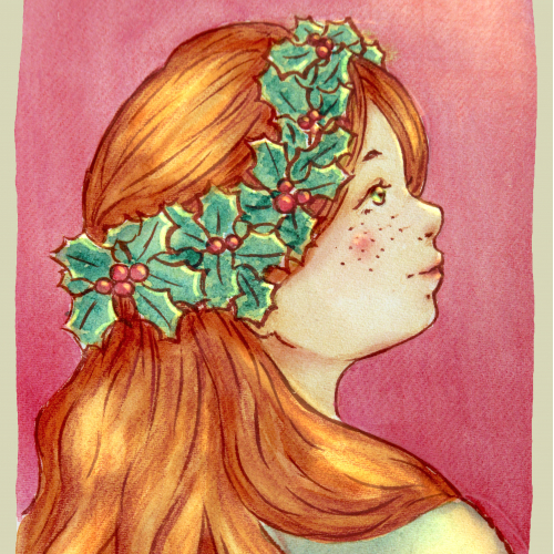 Vintage Christmas girl with holly crown