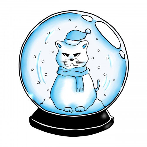 Cat in a Snow Globe