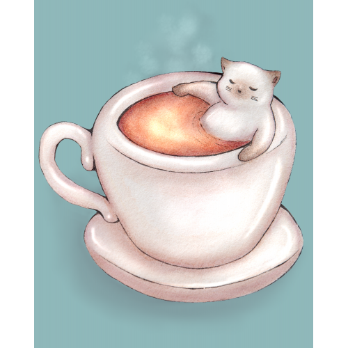 Cat bathing in tea mug