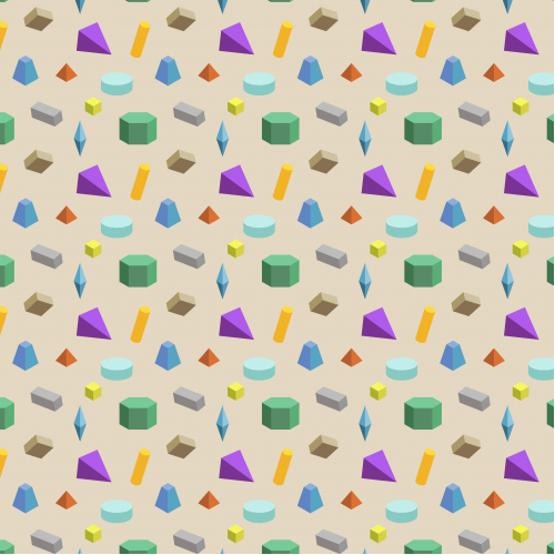 3D Geometric Shapes Seamless Pattern.