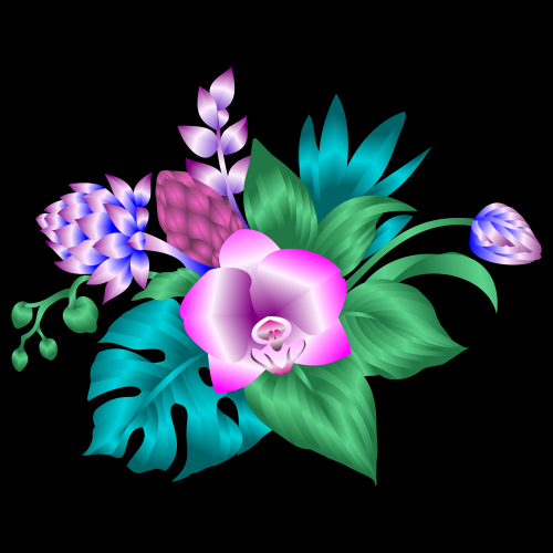 Tropical Flowers T-shirt Design