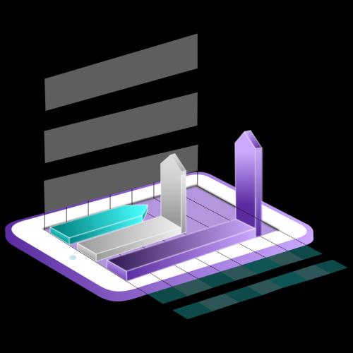 3d Isometric Chart on Tablet Illustration