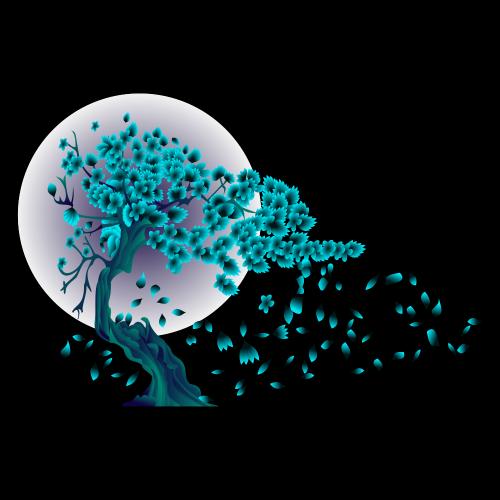 Flowering Tree Illustration T-shirt Design