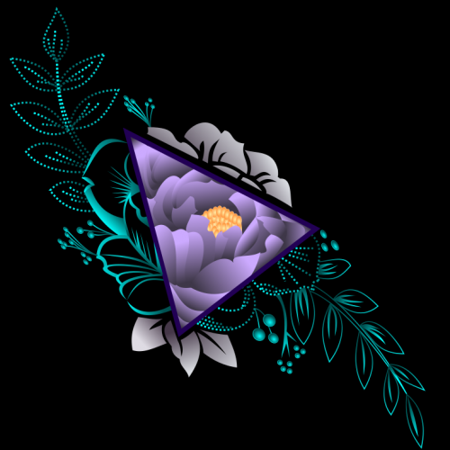 Purple Flower In Triangle T-shirt Design