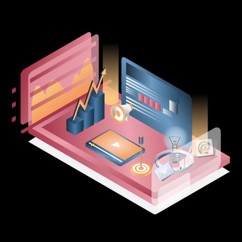 Content Marketing Isometric Illustration