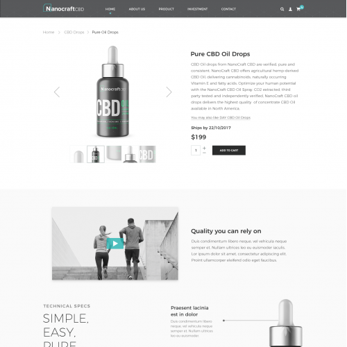 Product Page Design For Premium CBD Infused Products