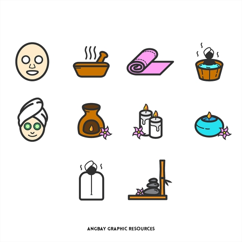 Spa and Beauty Icon Set