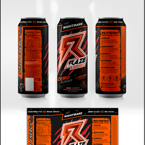 Raze Energy Nightmare Limited Edition Can Label