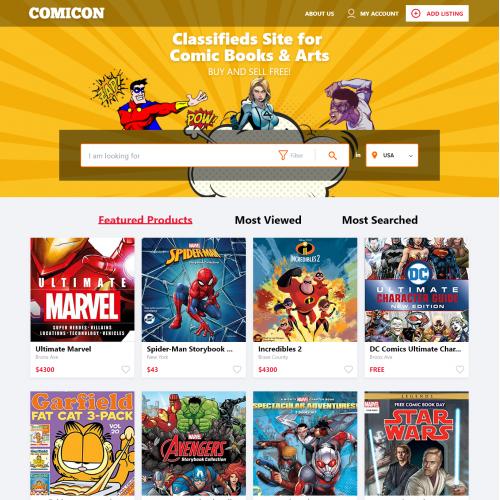 Comic Books Online Classifieds UI Design