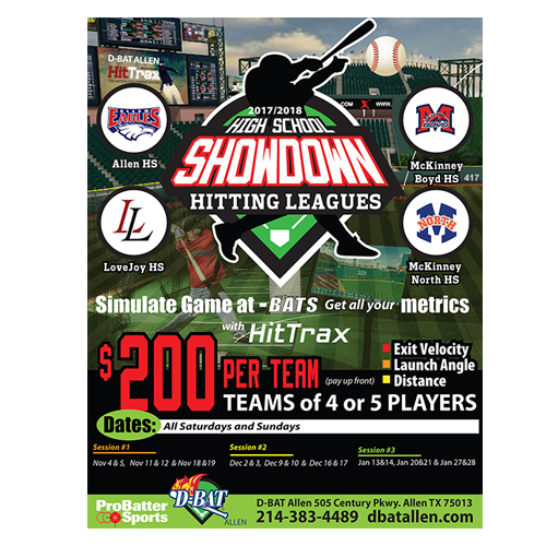 D-BAT SHOWDOWN HITTING LEAGUE FLYER