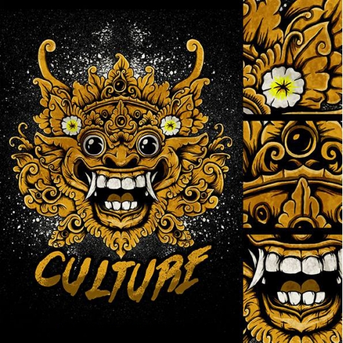 Balinese Mask Illustration Design