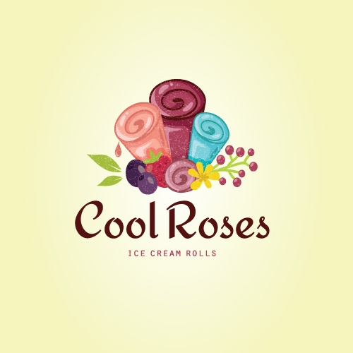 Cool roses ice cream rolls logo for sale