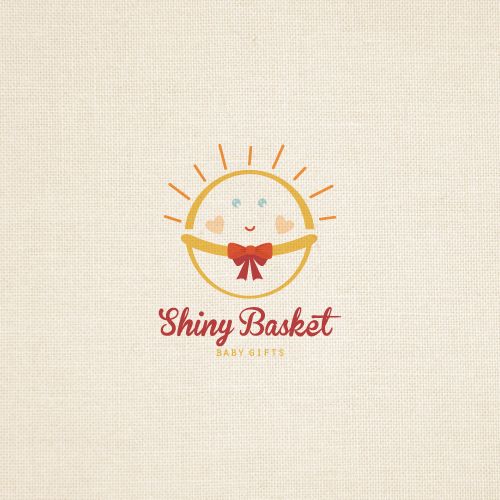 Shiny basket baby gifts logo for sale
