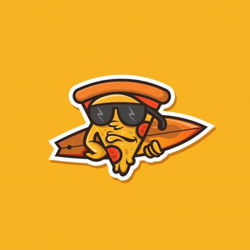 surfing pizza