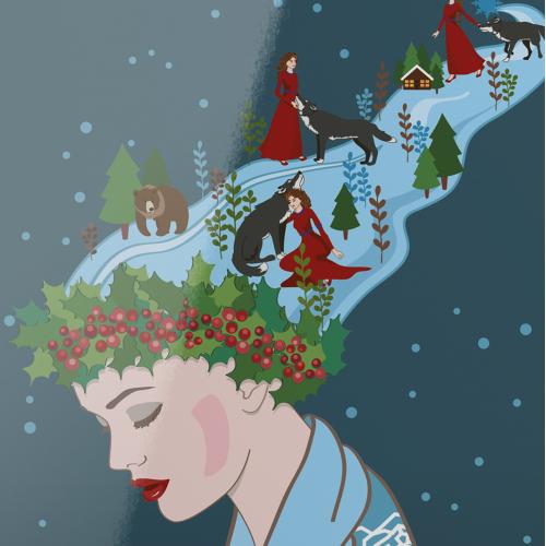 Winter fairy tale vector illustration