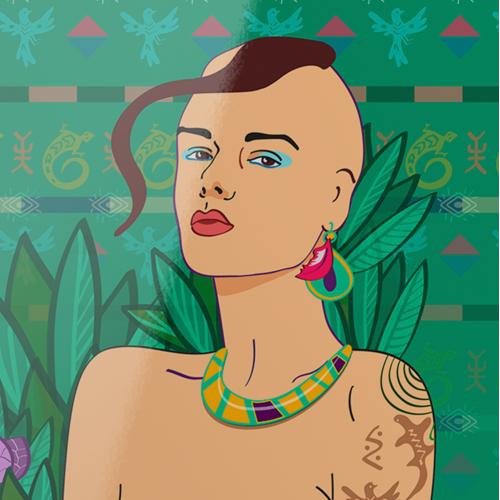 Princess of amazons vector illustration