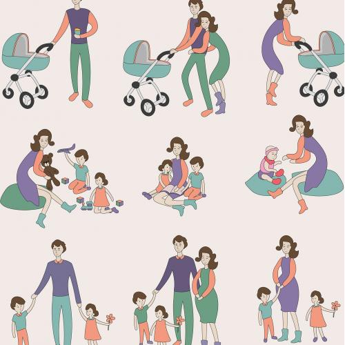 Big family set vector illustration