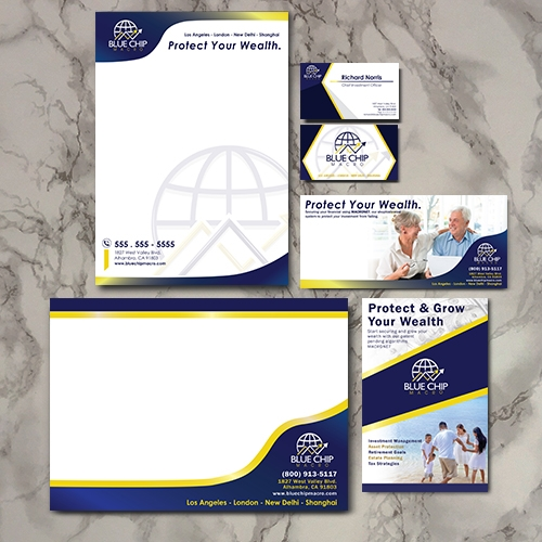 stationery and brochure design for blue chip macro