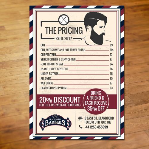 Menu Card Design for the Barbershop
