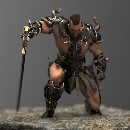 Barbarian dreadlock pose
