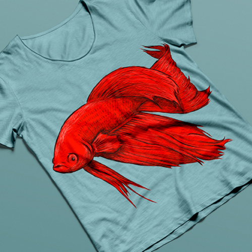 t shirt with fish