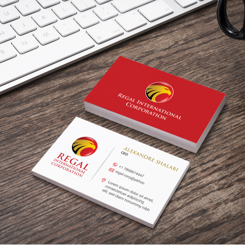 Business card design for Regal Int.